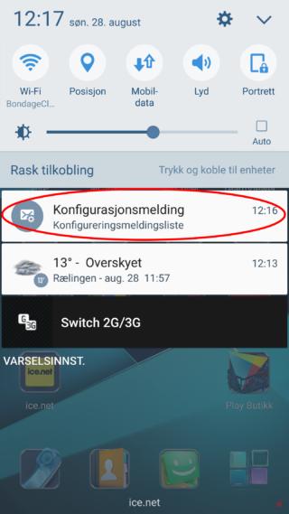 Dra finger ned fra toppen av skjermen for å få opp info/varslingssenter